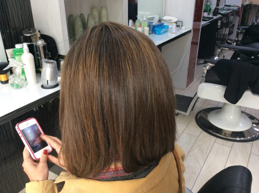 Natural highlights and hair cut